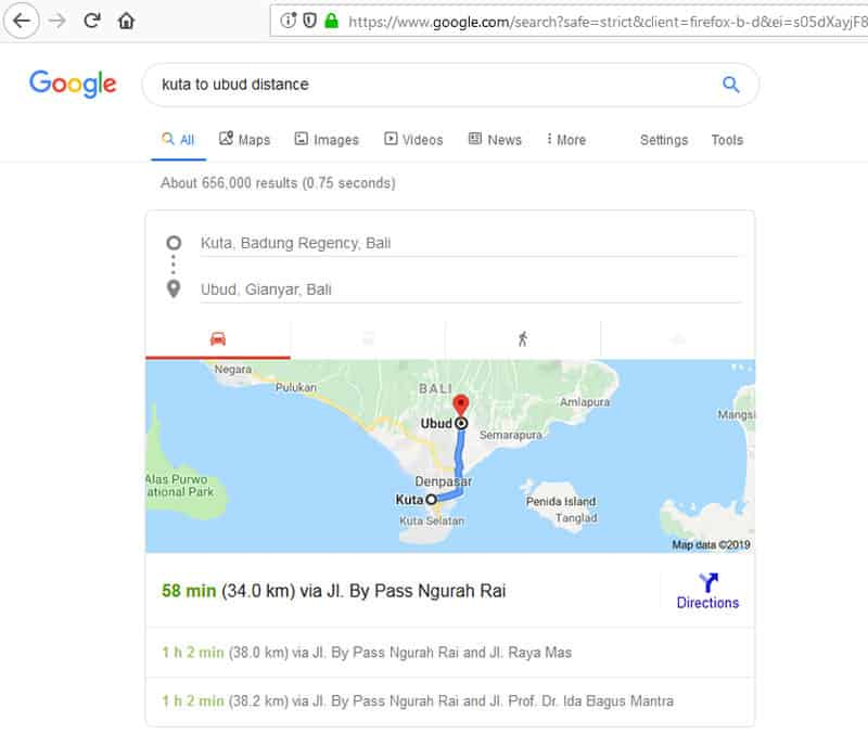 Googlemaps for the distance trip from Denpasar or Kuta to Ubud